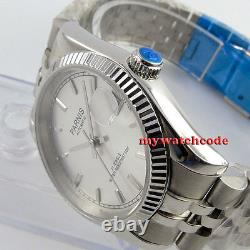 36mm PARNIS silver dial 21 jewels date miyota automatic Luxurious mens watch 788