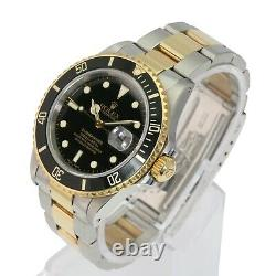 Authentic Rolex Submariner 16803 40mm Steel Yellow Gold Black Automatic Watch