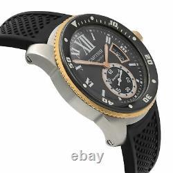 Cartier De Calibre Steel 18K Yellow Gold Black Dial Automatic Men Watch W7100055
