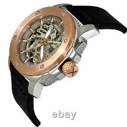 Fossil Me3082 Men's Automatic Watch Black Leather Strap New- Warranty