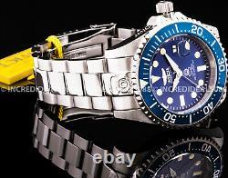 Invicta Men GRAND PRO DIVER AUTOMATIC Blue Bezel Dial Silver Bracelet SS Watch