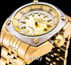 Invicta Men RESERVE AUTOMATIC Silver Bezel 18Kt Gold Dial Polish 48mm SS Watch