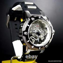 Mens Invicta Bolt Dragon Silver Tone Black 52mm Automatic Silicone Watch New
