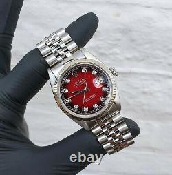 Mens Rolex Oyster Perpetual Datejust in Steel & White Gold with Red Diamond Dial