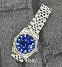 Mens Steel & Gold Rolex Oyster Perpetual Datejust with Blue Jubilee Diamond Dial