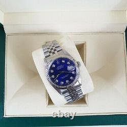 Mens Steel & White Gold Rolex Oyster Perpetual Datejust with Blue Diamond Dial