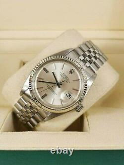 Mens vintage Rolex Datejust 1601 in Steel and 18ct White Gold Silver Dial