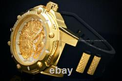NEW Invicta Men 52MM BOLT DRAGON Automatic 18 K Gold Plated S. S Poly Strap Watch