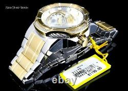 NEW Invicta Men's 52mm Bolt Automatic Open Heart Silver Gold Tone Bracelet Watch