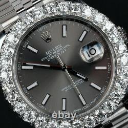 Rolex Datejust 41 Dark Rhodium Dial & 7.20ctw Diamond Bezel 126300RSJ Stainless