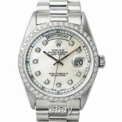 Rolex Day-Date President White Gold 18039 Automatic Watch Diamond Dial & Bezel