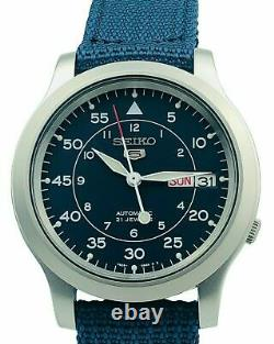 Seiko 5 Automatic Military Style Blue 37mm Case Men's Watch SNK807K2