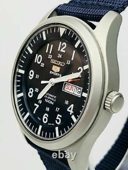 Seiko 5 Sports Automatic Military Blue Dial Canvas Mens Watch SNZG11K1 RRP £299