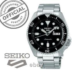 Seiko 5 Sports Black Dial Steel Bracelet Automatic Mens Watch SRPD55K1 RRP £250