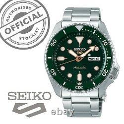 Seiko 5 Sports Green Dial Steel Bracelet Automatic Mens Watch SRPD63K1 RRP £260
