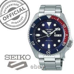 Seiko 5 Sports'Pepsi' Bezel Steel Bracelet Automatic Men's Watch SRPD53K1