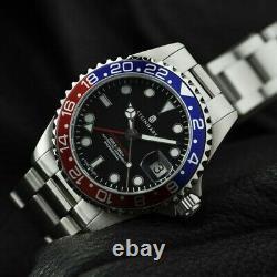 Steinhart Ocean One 39 GMT Blue Red Bezel Automatic Swiss Diver Watch Pepsi 1