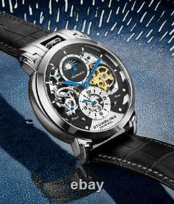 Stuhrling 906 Automatic 47mm Skeleton dual-time AM/PM Men's Leather Watch