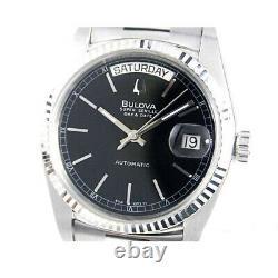 Vintage Bulova Super Seville Automatic Day Date Black Duble Classic Mens Watch